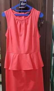 HnM shocked pink dress peplum 65K