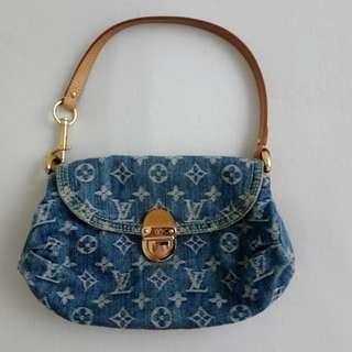 02ea308af62f Authentic Louis Vuitton Monogram Denim Pleaty Mini Shoulder Bag