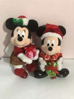 東京迪士尼2017年限定聖誕米奇、米妮玩偶吊飾
