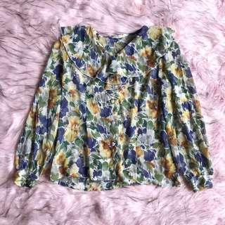 attrait vintage top ~ atasan jadul motif bunga