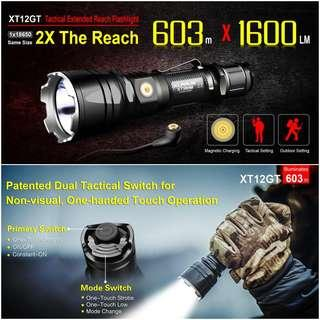 (Free Delivery) Klarus XT12GT Long Throw Tactical Flashlight with Magnetic USB Charging_1,600 Lumens_603 Meters Throw