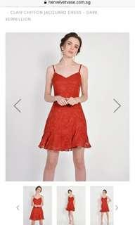 HVV Clair Chiffon Jacquard Dress - Dark Vermillion S