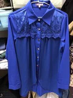 🚚 寶藍色OL造型感襯衫
