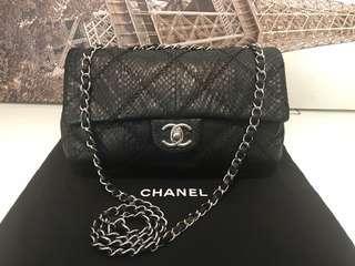 100%Chanel少有黑色蛇皮單雙鏈上肩袋            Hermes Miumiu prada cartier celine Gucci