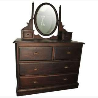 Price Reduce- Colonial Teak Dressing Table Antique
