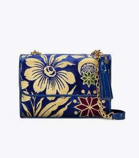 LIMITED EDITION ❤️ Tory Burch Fleming Cosmic Velvet Floral Small Convertible Shoulder Bag