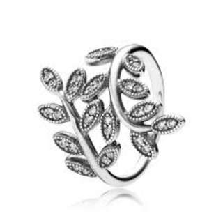 2fb9f5985 Pandora Sparkling Leaves Ring with Clear Cubic Zirconia 92.5 Sterling  Silver Women's Bracelet Available Size 5