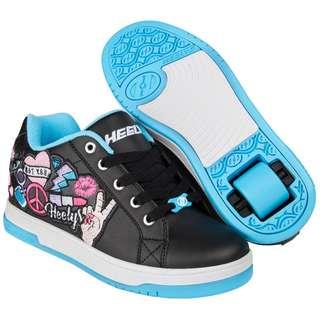 ba0b37a57f5610 Heelys Split Skate Shoes Black Aqua Peace Patch size 5 Big Kid size 6 Women