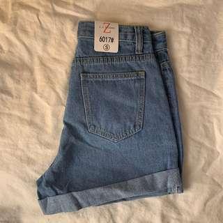 Ashlee - Cuffed Blue Denim Shorts
