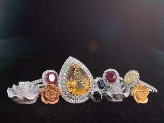 晶石、寶石鑽戒