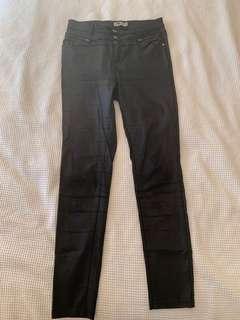 Black shiny wet look pants