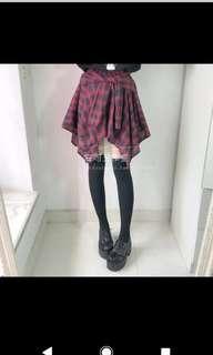 🚚 日系軟妹黑暗風不規則格裙