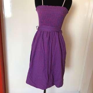 Gingham tube dress w/ pockets