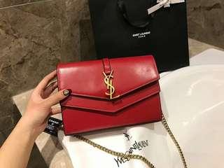 YSL Sulpice Chain Wallet in smooth leather