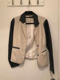 Black and white patent and silk (?) blazer jacket thing size small