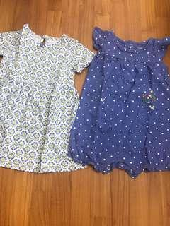 🚚 12M baby girl Carter's dress and romper set