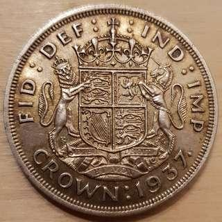 🚚 1937 Great Britain King George VI Silver Crown Coin