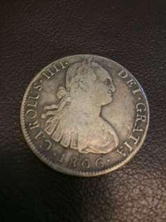 1806年西班牙4Real 銀幣 Spain silver coin 4 real