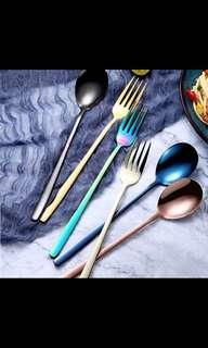 Multicolor Cutlery Utensils Fork and Spoon! Stainless Steel!