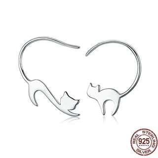 🚚 [SALES]▫️100% 925 STERLING SILVER CAT DROP EARRING WOMEN SMALL EARRINGS WOMEN FINE JEWELRY▫️