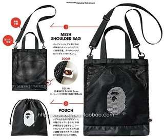 日本雜誌袋 BAPE潮牌斜咩袋 兩件套
