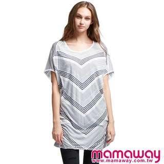 🚚 媽媽餵 mamaway V領飄逸孕哺上衣 春夏哺乳洋裝 春夏孕婦洋裝 孕婦裝