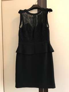 Sandro Black Sleeveless Lace Dress with Peplum