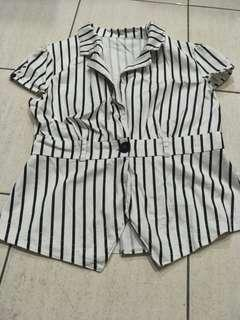 Black & White Collar Blouse Top #MFEB20