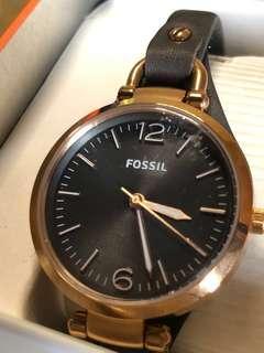 FOSSIL Jam Georgia Smoke Leather Watch Rose Gold ES3077 Original