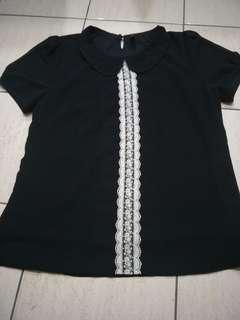 Black Collar Blouse Top with lace #MFEB20