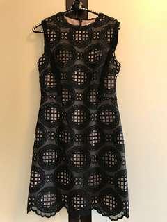 Reiss Black Eyelet Dress