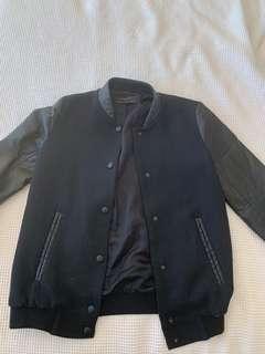 Zara black bomber jacket faux leather sleeves