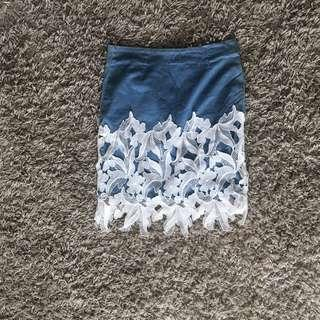 Osmose blue with lace design skirt