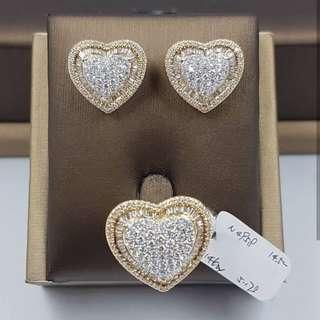 Huge Heart Pave Earrings and Ring Set