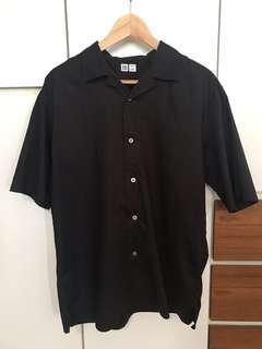 Uniqlo U Black Open Collar Shirt