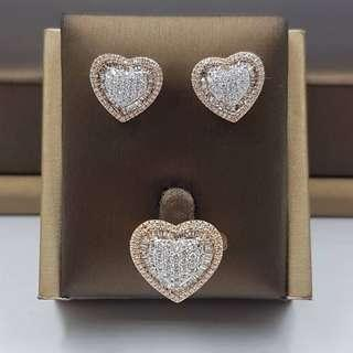 Medium Heart Pave Earrings and Ring Set