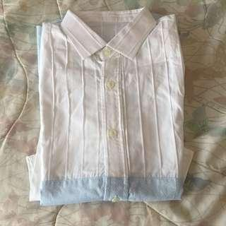 New! White and Baby Blue Collared Blouse