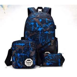 3in1 BACKPACK SET WITH USB CONNECTOR