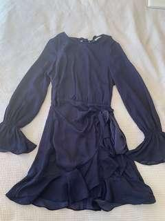 Blue silky bell long sleeve dress