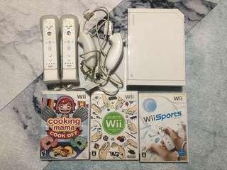 Wii 遊戲機 全套連2個手制 wii fit plus板 齊線