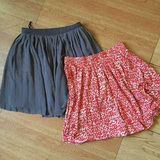 Set of Pleated Skirts: H&M and Uniqlo