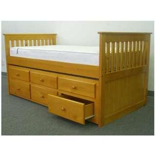 Single bed with pull out bed and drawers