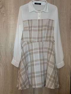 🚚 Brown Checkered Dress with Mesh Long Sleeves