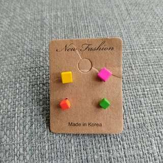 🚚 韓製繽紛彩色方型耳環