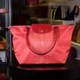 Authentic Longchamp Neo Fantaisie Stingray red LLH
