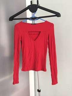 BERSHKA Long Sleeve Top in Red