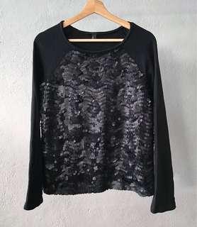 Black Sequinned Oversized Top