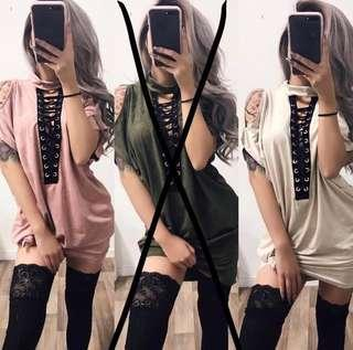 SweetMayhem Vixen Cold Shoulder Lace Up T-Shirt Dress Suede