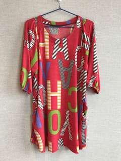 清屋 紅色 彩色圖案 娃娃裝 連身裙 薄料 透氣 Red thin breathing fabric One Piece Long Top with colourful print and side pocket 新舊如圖 Condition as shown