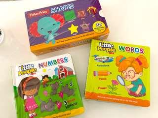 Flash cards and board books for 0-1 yo